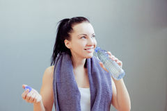 Young woman drinks water Stock Photo