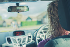 Young woman driving car Stock Photography
