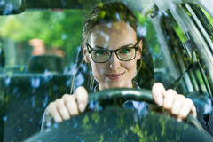 Young woman driving a car Stock Photography