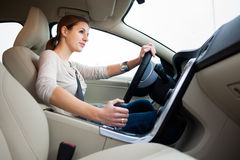 Young, woman driving a car Stock Image