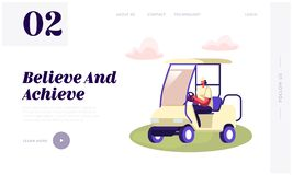 Young Woman Driving Cart on Golf Course Website Landing Page, Country Sports Club, Resort with Green Play Field, Summer Sport