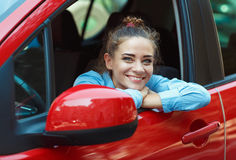 Young woman driving her car Royalty Free Stock Photo