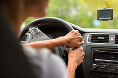 Young woman driving her car Royalty Free Stock Image