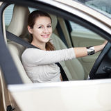 Young woman driving her new car Royalty Free Stock Photography