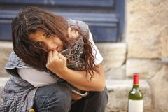 Young woman drunk Royalty Free Stock Photo