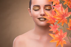 The young woman with dry autumn leaves. Young woman with dry autumn leaves royalty free stock image