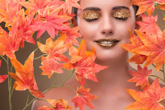 The young woman with dry autumn leaves. Young woman with dry autumn leaves royalty free stock images