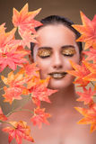 The young woman with dry autumn leaves. Young woman with dry autumn leaves royalty free stock photo