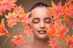 The young woman with dry autumn leaves. Young woman with dry autumn leaves stock photography