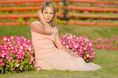 Young woman in Dubai Miracle Garden. (United Arab Emirates Stock Image