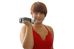 Young woman with dumbbell Stock Image