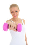 Young woman with dumbbell Stock Photos