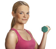 Young Woman with Dumbbell Royalty Free Stock Image