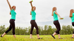 A Young Woman With Dumbbells stock footage