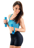 Young woman with dumbbells. Physical fitness Stock Photos