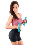 Young woman with dumbbells. Physical fitness Royalty Free Stock Photo