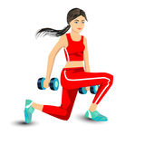 Young woman with dumbbells. In a red tracksuit, sneakers, gym, crouched on his knees, exercise, physical education,Isolated image on white background, vector Stock Photos