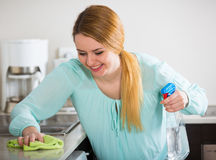 Young woman dusting kitchen tops indoors. Happy young long-haired woman cleaning kitchen tops at home Royalty Free Stock Image