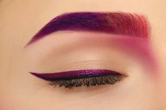 Young woman with dyed eyebrow,. Closeup royalty free stock image