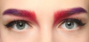Young woman with dyed eyebrows,. Closeup stock images