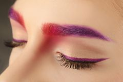 Young woman with dyed eyebrows,. Closeup royalty free stock photo