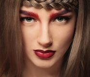 Young woman with dyed eyebrows,. Closeup stock image