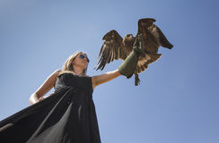 Young woman with an eagle Stock Photos