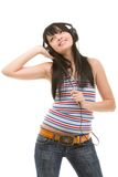 Young woman in earphones Royalty Free Stock Images