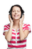 Young woman with earphones Stock Photography