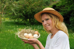 Young woman and Easter eggs Royalty Free Stock Photo