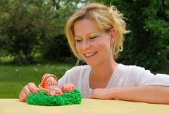 Young woman and easter eggs Stock Image
