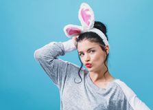 Young woman with Easter rabbit ears royalty free stock images
