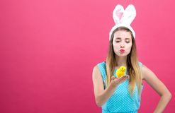 Young woman with Easter theme stock image