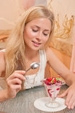 Young woman eat dessert Stock Photos