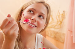 Young woman eat dessert Royalty Free Stock Photos