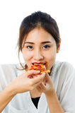 Young woman eat pizza Stock Photos
