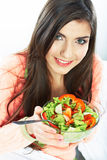 Young woman eat salad. Healthy vegetarian food. Royalty Free Stock Photo