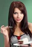 young woman eat sweet cake royalty free stock images