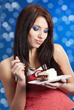 Young woman eat sweet cake royalty free stock photo