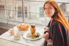 Young woman eat traditional Cappadocia food from tasty kebab Stock Photography