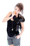 Young woman eating an aplle. Isolated on white Stock Photo