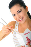 Young Woman Eating Chinese Food royalty free stock images