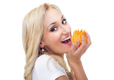 Young woman eating chips Stock Photography