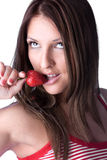 Young woman  are eating fresh strawberry Royalty Free Stock Photos