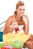 Young Woman Eating Fruit - Isolated Royalty Free Stock Images