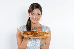 Young woman eating pizza Stock Photos