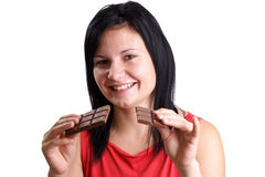 Young woman eating some home made chocolate Royalty Free Stock Image