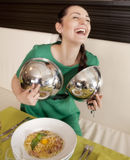 Young woman eating spaghetti Stock Photography