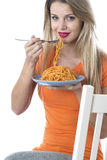 Young Woman Eating Spaghetti Pasta Royalty Free Stock Photo