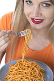 Young Woman Eating Spaghetti Pasta Stock Photo